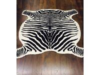 "Zebra Hide Rug Carpet - Faux Fur - Cream/Brown 120x140cm (47""x56"")"