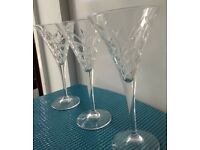 3 lovely cut glass quality COCKTAIL GLASSES