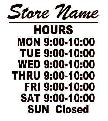Business Store Hours Sign Window Shop Open Closed Vinyl Decal 10x9 Ver 4