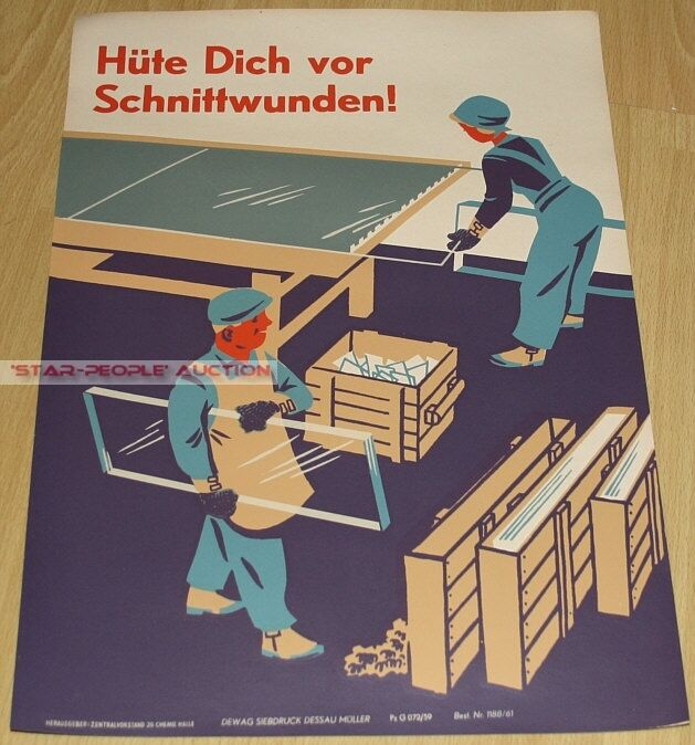 ORIGINAL EAST GERMAN POSTER FROM 1961 - BEWARE OF WOUNDS! FACTORIES