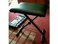 Adjustable folding piano stool