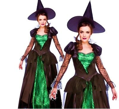 Ladies EMERALD WITCH QUEEN Sorceress Halloween Fancy Dress Costume UK Sizes 6-28