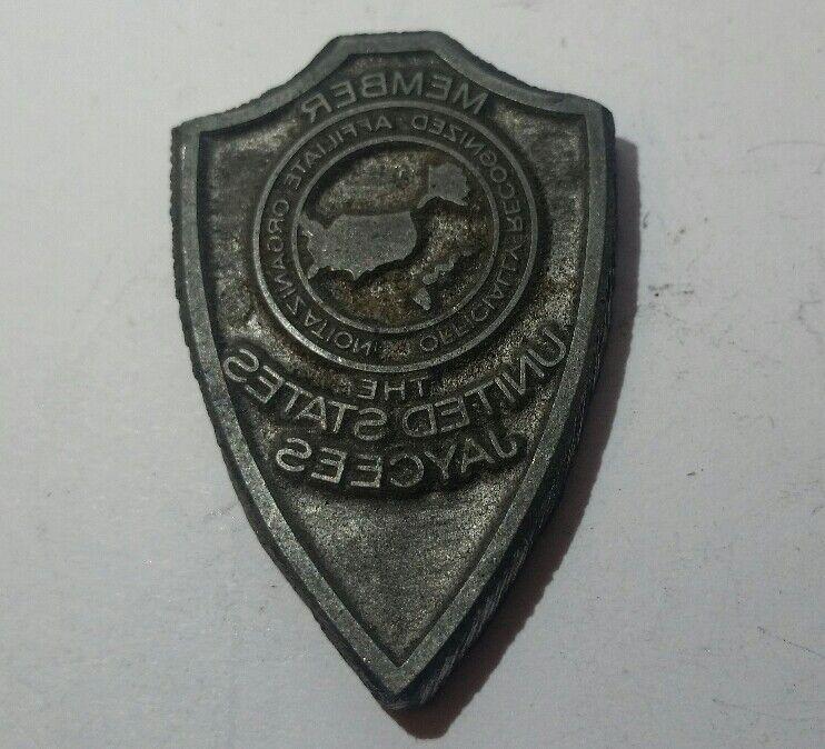 vintage the United States Jaycees metal printing block member club badge