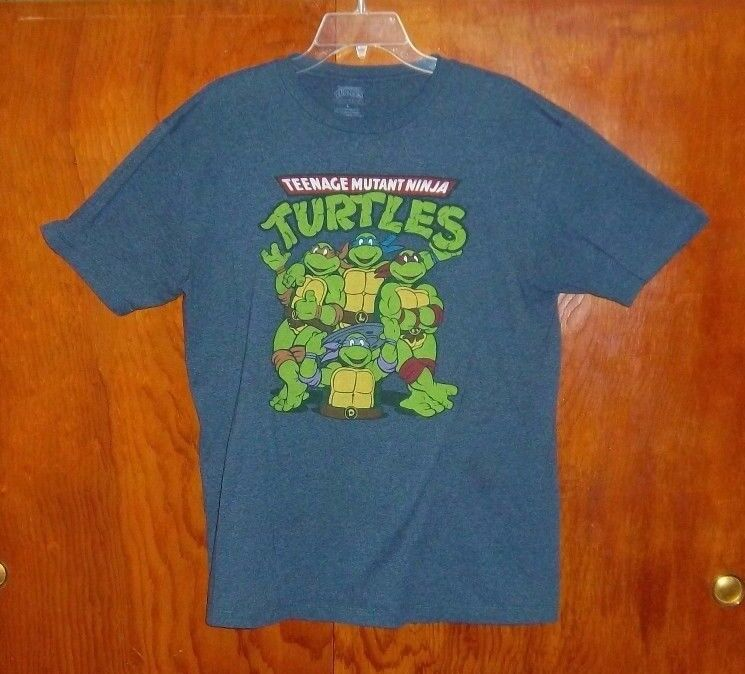 Vintage ~ Teenage Mutant Ninja Turtles Blue-Gray T-shirt Men's Size L ~ VGUC