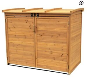 Wayfair Solid Wood Shed for Garbage Bins - **IN BOX