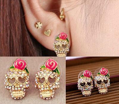 pretty Skeleton Skull Women Cute Pink Rose Rhinestone Ear Studs Earrings