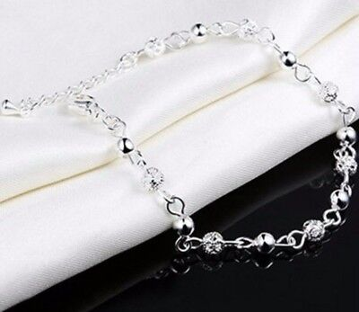925 Sterling Silver Women's Chain Beaded Adjustable Anklet Ankle Bracelet D578