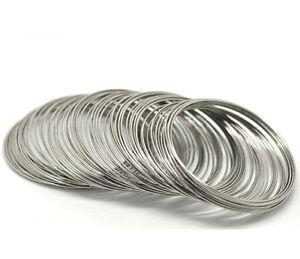 Memory Wire 40 Loops Silver Tone 60-65mm x 0.8mm Steel Bracelet J17929B