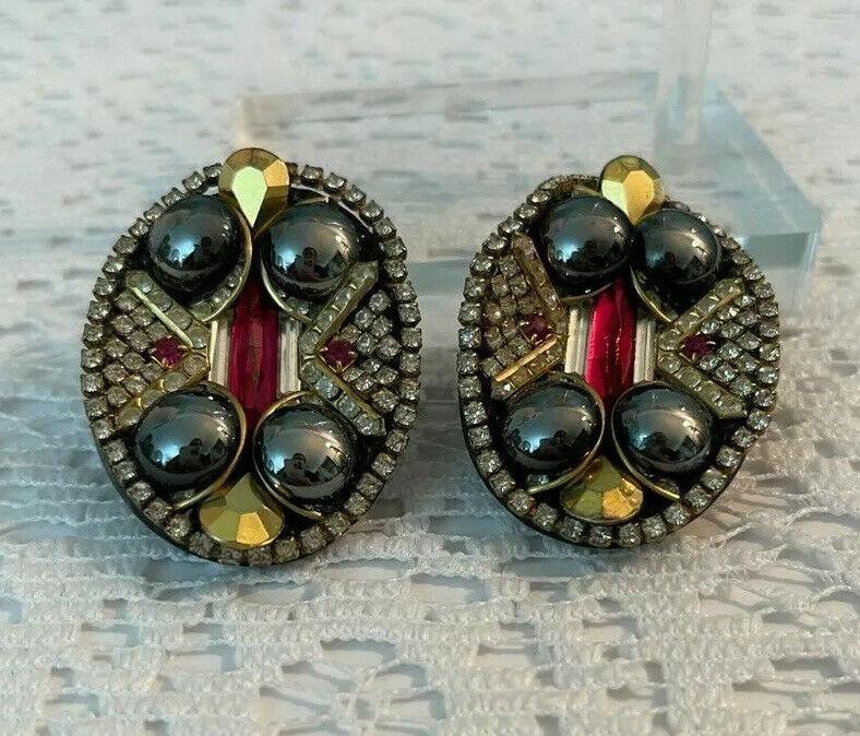 Vintage Handmade Rhinestone Clip Earrings Signed Hansen 88 Glass Cabochon Oval
