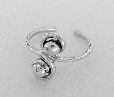 Sterling Silver beaded swirls size small adjustable wire toe ring
