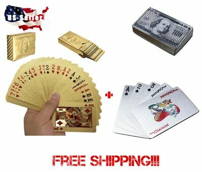 2 Decks!!! Deck of Gold and Silver Foil Plating Poker Plastic Playing Cards Playing Cards 2 Decks