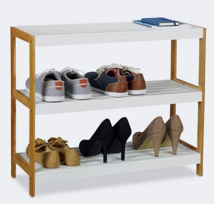 Schuhregal Weiß Schuhgestell Bambus & MDF Schubablage Offen Schuhaufbewahrung