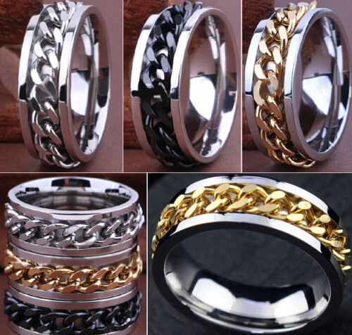 Wholesale mix lot 50pcs Quality Comfort-fit Chain SPINNER stainless steel rings
