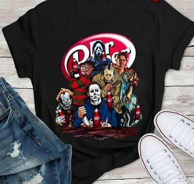 Halloween Horror Characters Dr. Pepper Black T Shirt. Best Halloween