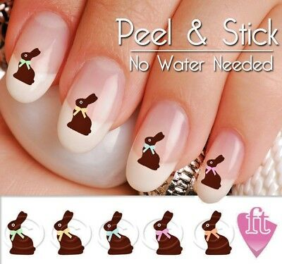 Easter Bunny Rabbit Chocolate Nail Decal Sticker set -