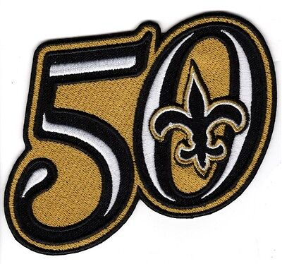 NEW ORLEANS SAINTS 50TH ANNIVERSARY SEASON PATCH EMBROIDERED JERSEY STYLE BENSON