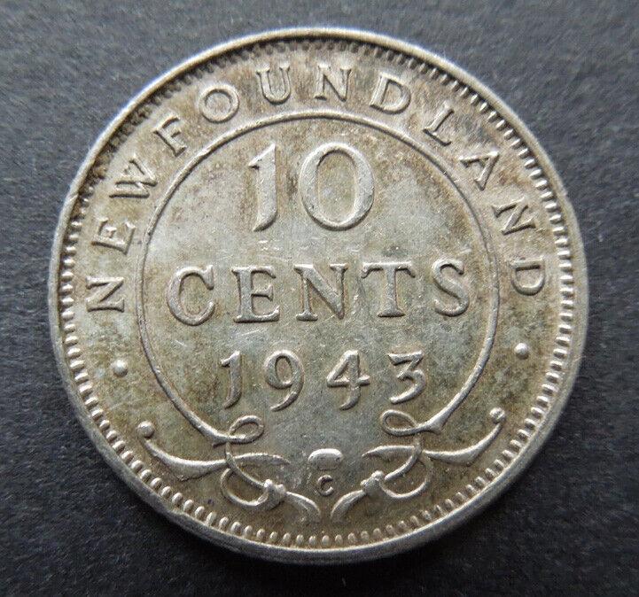 Newfoundland Canada 1943-C Ten 10 Cents King George VI Silver Coin