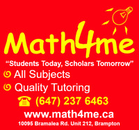 Math Science English Tutor 8$-15$/hr, Two locations in Brampton