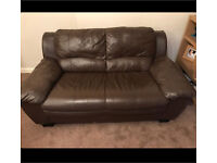 2 Seater Brown Leather Settee Sofa