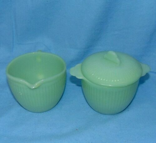 Fire King Jane Ray Jadeite Creamer and Sugar Bowl with Lid