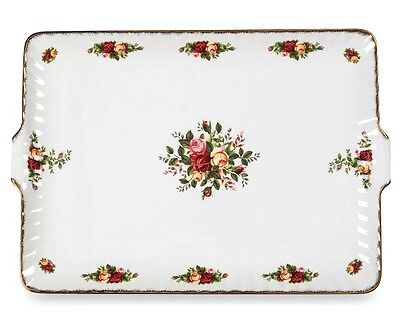 "Royal Albert OLD COUNTRY ROSES Serving Tray Rectangular Dish 13.5"" Fluted New"
