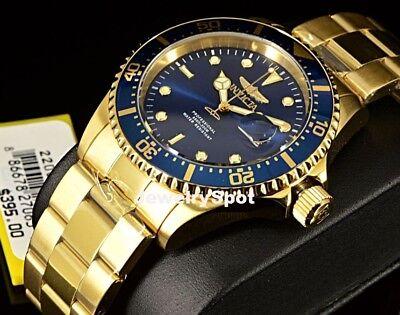 Invicta Pro Diver 43mm Coin Edge 18k Gold Tone Blue Sunray Dial SS Bracelet Watc