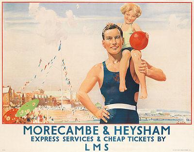 Vintage Railway Advertising  rail travel poster  A4 RE PRINT Morecambe & Heysham