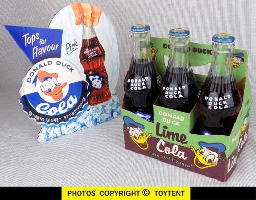 Walt Disney Donald Duck Cola 3 vintage full capped bottles + Lime carrier carton