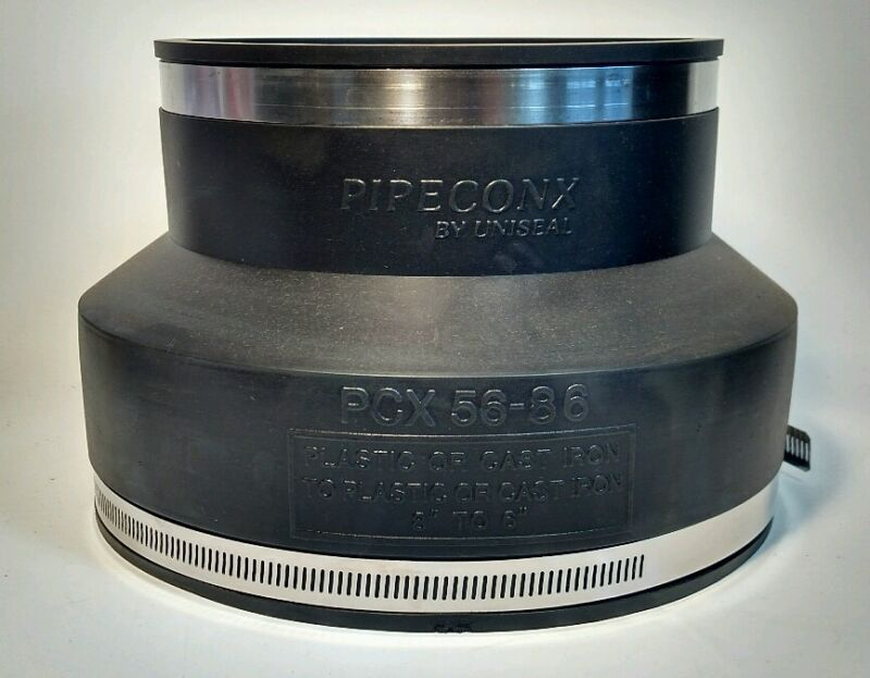 """6"""" x 8"""" Flexible Pipe Connector Coupling - Pipeconx PCX56-86 Reducer, Enlarger"""
