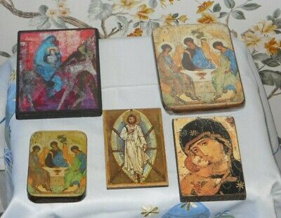 Wooden Christianity Icons x 5 various sizes in excellent condition