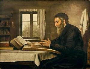 RABBI STUDYING TORAH PRAYER SHAWL TALLIT JEWISH JUDAICA *CANVAS* ART PRINT