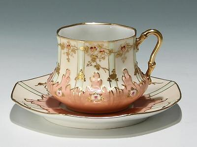 Handbemalte Jugendstil Reliefporzellan Kaffeetasse        #17269