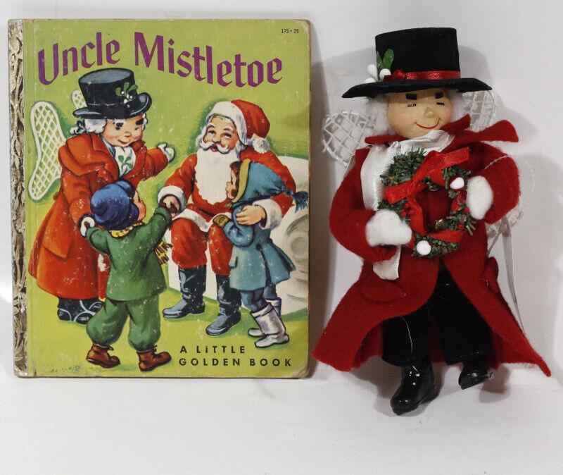 "2-PC Vintage UNCLE MISTLETOE MARSHALL FIELDS 8"" DOLL + LITTLE GOLDEN BOOK"