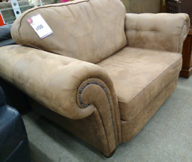 Chesterfield Style Brown Fabric Sofa/Chair