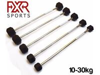 FXR Sports Hex Rubber Encased Ergo Barbell Weights - 5 Sizes Available (10kg/15kg/20kg/25kg/30kg)