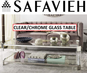 Safavieh SFV2527A Glass CLEAR Coffee Table contemporary modern