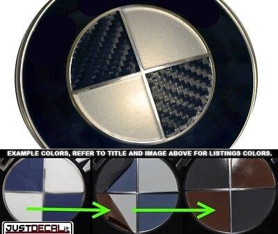 Carbon Fiber Black & Silver Vinyl Sticker Overlay COMPLETE SET FITS BMW Emblems