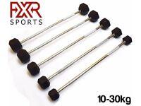 FXR Sports Hex Rubber Encased Ergo Barbell Weights - 5 Sizes Available (10kg/15kg/20kg/25kg/30kg)