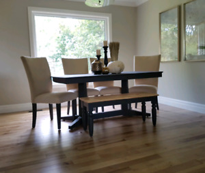 Dining table- Extendable with 6 chairs, bench optional