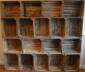Wooden Apple Crates - Bushel Fruit Boxes, Vintage Style Storage