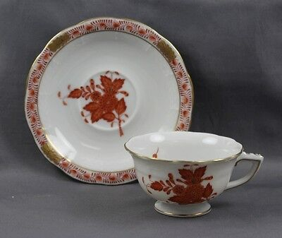 Herend China Chinese Bouquet Rust Demitasse Cup & Saucer (s) 735