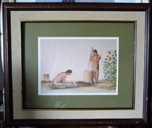 "Iroquois Artist Lithograph, Ernest Smith ""Making SunFlower Oil"""