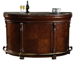 Elegant bar with matching cabinet and hutch