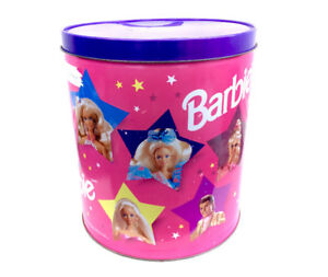 Vintage Barbie 1995 HUGE Tin Can Popcorn Canister Aluminum 90s