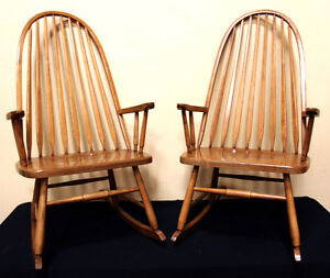 Two Mennonite Made Euro Back OAK Rocking Chairs SEE VIDEO