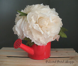 Cream Coffee Filter Peony in Red Watering Can/Spring Arrangement Belleville Belleville Area image 5