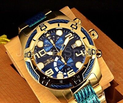 New Invicta Bolt Gen Iii Blue Chronograph Dial 18K Gp Stainless Steel Band Watch