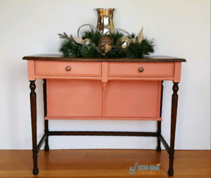 Refinished Antique Solid Wood Desk Table Vanity with Chair