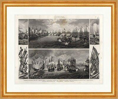 Seeschlacht in der Tschesme Bai Cesme Flotte Brockhaus Bilder Atlas Seewesen 07