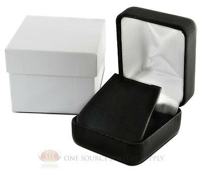 Black Leather Metal Earring Jewelry Gift Box 1 78w X 2 18d X 1 12h